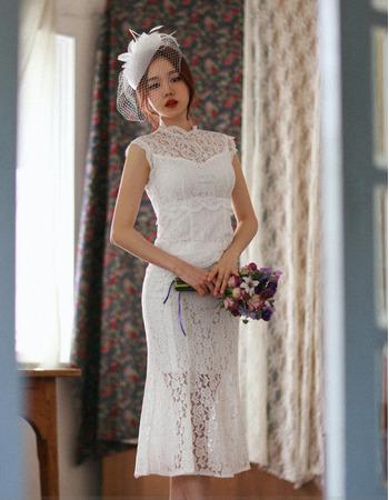 Discount Trumpet Sleeveless Tea Length Lace Reception Wedding Dresses