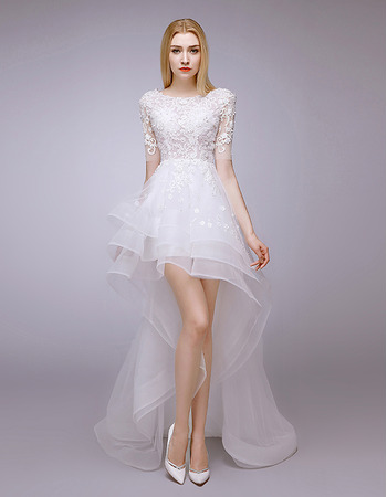 2019 Style High-Low Petite Wedding Dresses with Short Sleeves