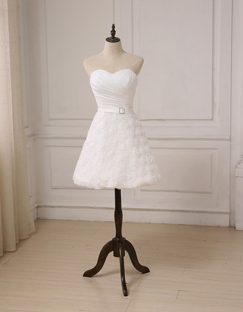 Informal Sweetheart Knee Length Floral Skirt Petite Wedding Dresses