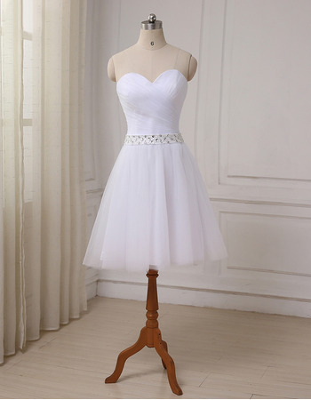 2019 New A-Line Sweetheart Knee Length Satin Tulle Wedding Dresses