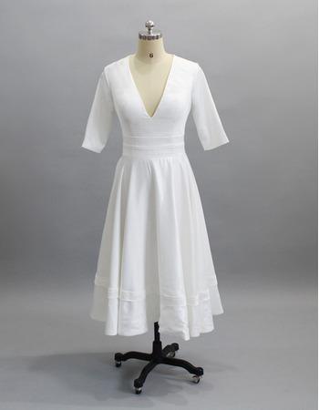 Custom V-Neck Tea Length Reception Wedding Dresses with Half Sleeves