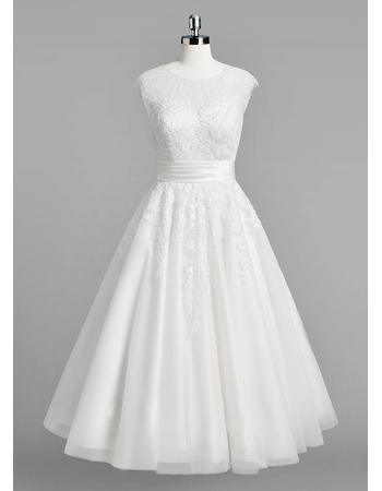 Vintage A-Line Sleeveless Tea Length Reception Wedding Dresses