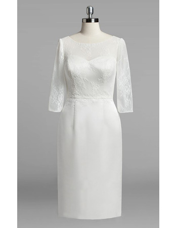 2018 Style Column Knee Length Wedding Dresses with 3/4 Long Sleeves
