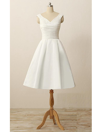 Custom A-Line V-Neck Knee Length Satin Reception Wedding Dresses