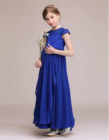 2020 New Cap Sleeves Ankle Length Chiffon Junior Bridesmaid Dresses