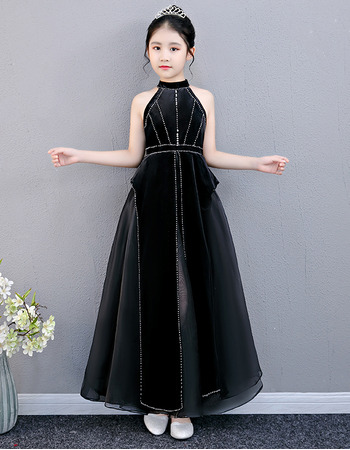 2019 Style Halter Ankle Length Black Junior Bridesmaid Dresses