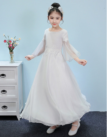 Custom Ankle Length Junior Bridesmaid Dresses with 3/4 Long Sleeves