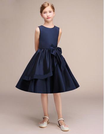 2019 New Style A-Line Knee Length Satin Junior Bridesmaid Dresses