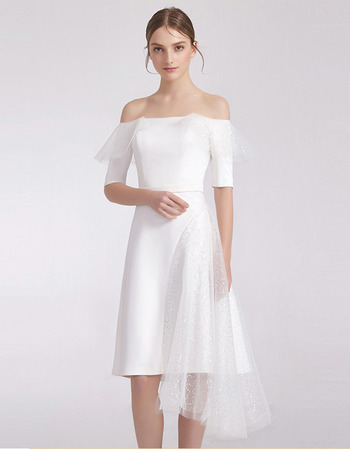 Custom Off-the-shoulder Short Cocktail/ Graduation Dress with Sleeves