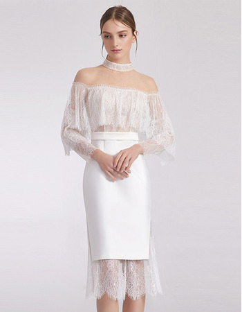 Sexy Sheath/ Column Short Cocktail/ Holiday Dresses with Lace Sleeves