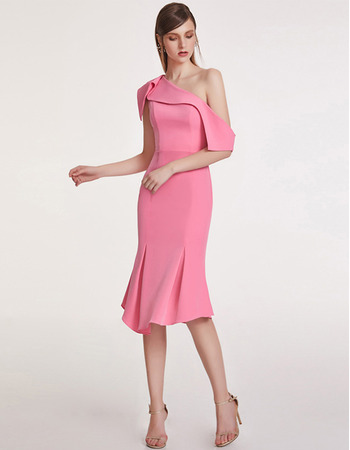 Discount Mermaid One Shoulder Short Satin Cocktail/ Holiday Dresses