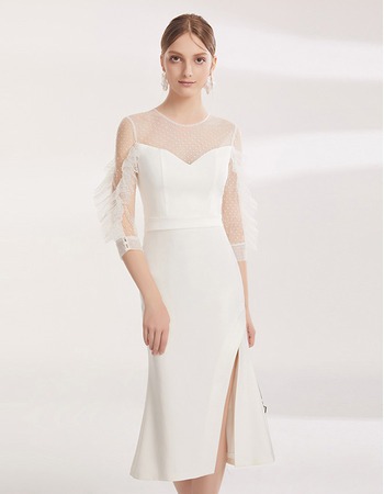 Elegant Sheath Tea Length Cocktail/ Holiday Dresses with Sleeves