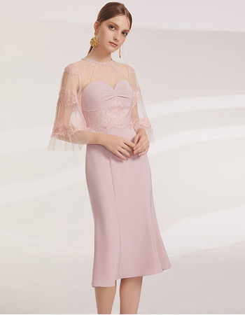 2019 New Mermaid Knee Length Cocktail/ Holiday Dresses with Sleeves