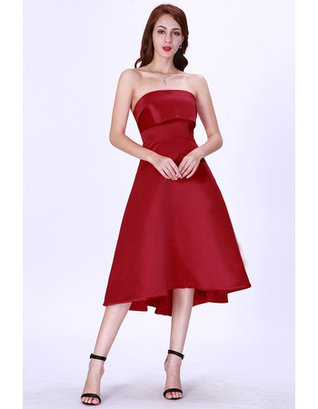 Affordable A-Line Strapless Short Satin Cocktail/ Holiday Dresses