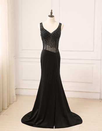 Sexy Sheath V-Neck Floor Length Chiffon Black Beading Evening Dresses