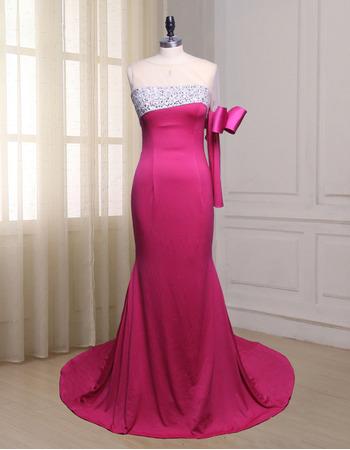 Custom Asymmetric Floor Length Evening Dress with One Sleeve