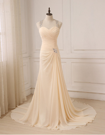 Discount Sweetheart Floor Length Chiffon Evening Dresses with Straps