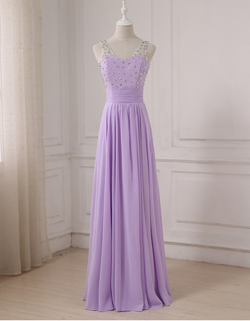 Elegant V-Neck Floor Length Chiffon Evening/ Prom/ Formal Dresses
