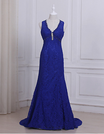 Sexy V-Neck Sleeveless Floor Length Lace Evening/ Prom/ Formal Dresses