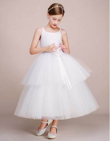 Affordable Ball Gown Sleeveless Tea Length Flower Girl Dresses