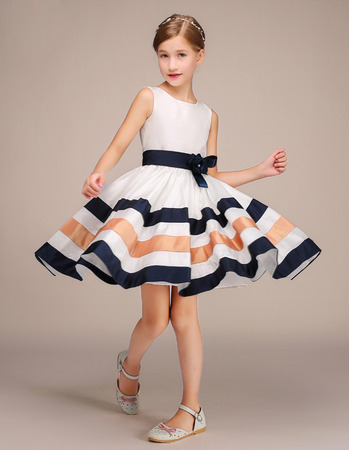 Stunning Knee Length Flower Girl Dresses with Belts and Stripes