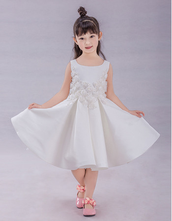 2019 Style A-Line Knee Length Satin Applique Flower Girl Dresses