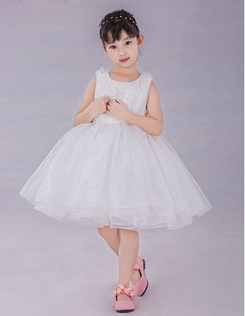 Custom Ball Gown Knee Length Organza Embroidery Flower Girl Dresses