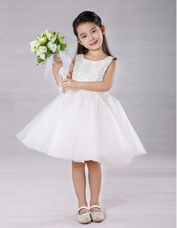 Inexpensive A-Line Knee Length Embroidery Flower Girl Dresses