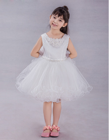 2019 New Style A-Line Knee Length Satin Tulle Flower Girl Dresses