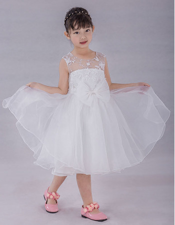 Custom Ball Gown Knee Length Organza Flower Girl/ Communion Dresses