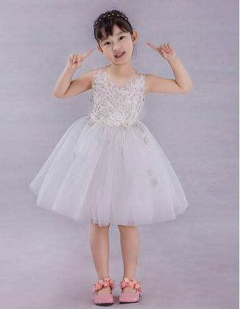 Affordable Ball Gown Knee Length Applique Flower Girl Dresses