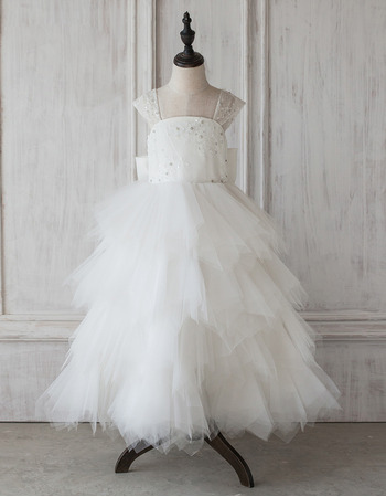 Stunning A-Line Floor Length Ruffle Skirt Flower Girl Dresses
