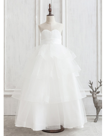 2019 New Style Ball Gown Floor Length Organza Flower Girl Dresses