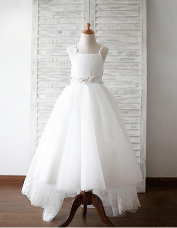 Discount Straps Floor Length High-Low Organza Flower Girl Dresses