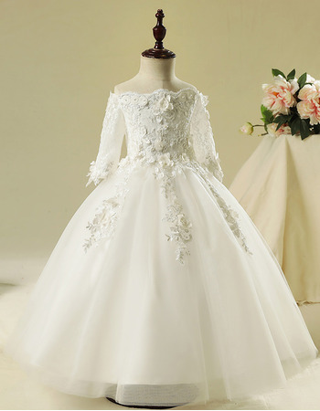 Adorable Ball Gown Off-the-shoulder Flower Girl Dresses with Sleeves