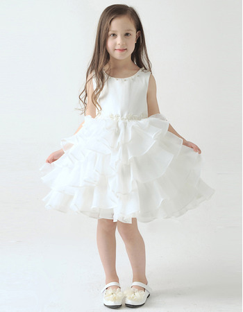 Custom A-Line Knee Length Short Layered Skirt Flower Girl Dresses