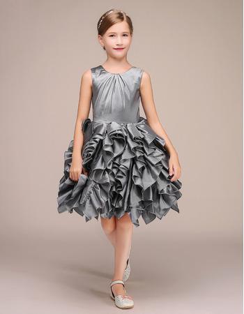 Custom Sleeveless Short Taffeta Ruffle Skirt Flower Girl Dresses