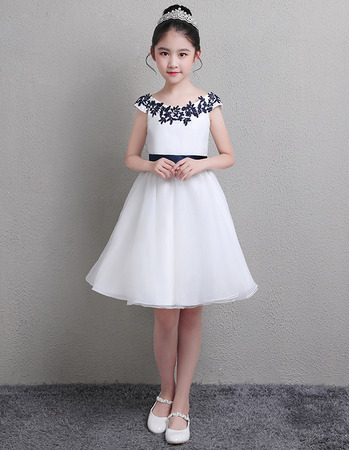 2019 New A-Line Knee Length Satin Flower Girl Dresses with Sashes