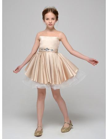 Inexpensive A-Line Mini/ Short Satin Tulle Flower Girl Dresses