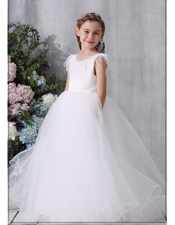 Custom Ball Gown Floor Length Organza Flower Girl / Communion Dresses