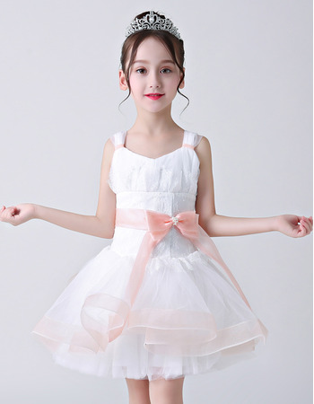 Affordable A-Line Straps Mini/ Short Flower Girl Dresses with Sashes