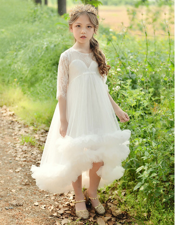 Adorable Empire High-Low Tulle Flower Girl Dresses with Half Sleeves