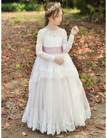 2019 New Style Ball Gown Flower Girl Dresses with Long Lace Sleeves