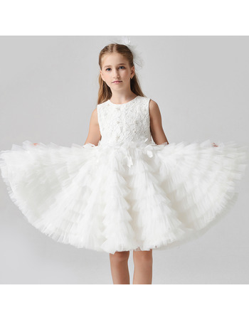 Custom Knee Length Lace Organza Pleated Skirt Flower Girl Dresses