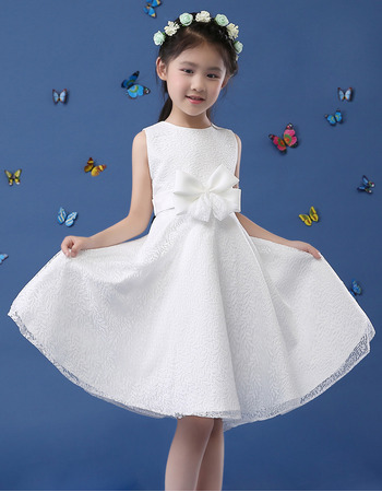 2019 New Style A-Line Sleeveless Knee Length Lace Flower Girl Dresses