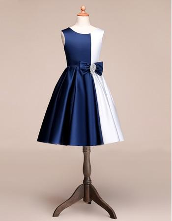 Custom A-Line Knee Length Satin Multi Color Flower Girl Dresses