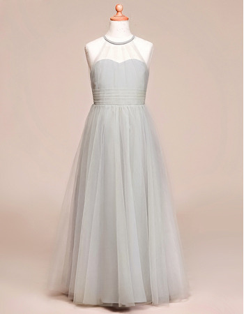 Affordable A-Line Floor Length Satin Tulle Flower Girl Dresses