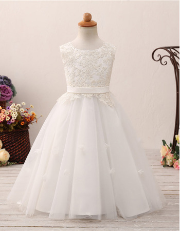 Adorable Ball Gown Floor Length Flower Girl/ First Communion Dresses