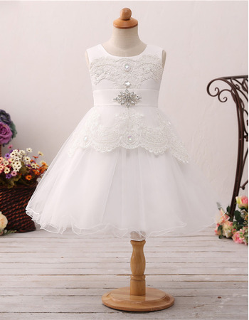 Stunning A-Line Sleeveless Knee Length Organza Flower Girl Dresses