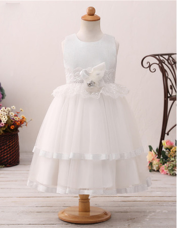 2019 New Style Ball Gown Tea Length Flower Girl Dresses for Wedding